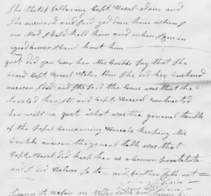 """Excerpt of Sept. 22, 1806 deposition of John and Mary McClain: """"god dam him when I am mad I cold kill him and when I am in a good humer I cant hurt him"""") (Indiana Territory General Court Case Files, Box 9, Folder 614, Indiana State Archives, Commission on Public Records)"""