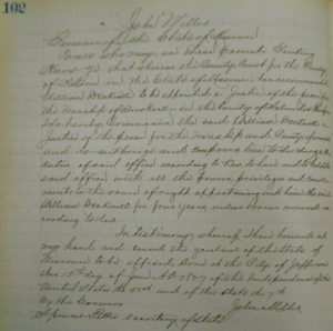 June 15, 1827 commission of William Becknell as Justice of the Peace (Saline Co., Mo., Deed Book A, p. 102)