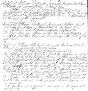 March 29, 1858 orders denying appointment to Joseph J. Dickson and William Guest and appointing Malinda S. Becknell (Red River Co., Tex., Probate Record G, p. 269)